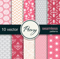 10 seamless vector patterns. Floral theme. Royalty Free Stock Photo
