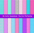 Seamless vector patterns in lol doll surprise style. Endless background with hearts, stripes and polka dots. Decor for
