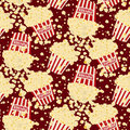 Seamless vector popcorn background Stock Photography