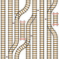 Seamless vector railroad pattern. Top view path background. Urban map plan. Roadmap rail illustration.