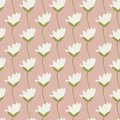 Seamless vector repeat pretty ivory tulips in a row with sketched green stem design with a soft pink background.