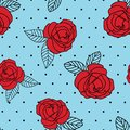 Seamless vector repeat red vintage rose print with a black dot and blue background.