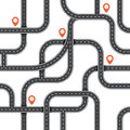 Seamless vector road pattern. Top view path background. Urban map plan. Roadmap highway illustration.