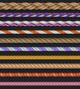 Seamless vector straight ropes and strings on transparent background