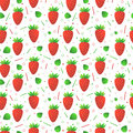 Seamless vector strawberries pattern design with red and leaves Royalty Free Stock Image
