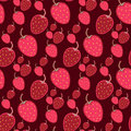 Seamless vector strawberry pattern. Berry on dark background. Royalty Free Stock Photo