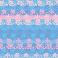 Seamless vector striped pattern background with pink and blue flowers