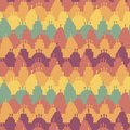 Seamless vector stripes pattern with colorful birthday cakes