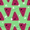 Seamless summer pattern with watermelons