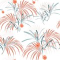 Seamless vector tropical pattern with light palm leaves and tropical orange flowers on white background. Royalty Free Stock Photo