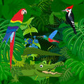 Seamless vector tropical rainforest Jungle background with kids animals