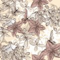 Seamless vector wallpaper pattern in vintage floral style with flowers and butterflies Royalty Free Stock Photos