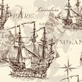 Seamless vector wallpaper with ship in vintage style design old fashioned and map Stock Image