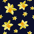 Seamless Vector Yellow daffodil flowers on dark background. Floral pattern with narcissus flowers. Fashion style for prints, silk