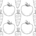 Seamless, vegetable, black, white pattern with tomatoes, carrots for coloring.