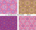 Seamless vintage abstract pattern. Vector set of 4. Royalty Free Stock Photo