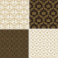 Seamless vintage floral background gold and black pattern Royalty Free Stock Photo