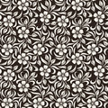Seamless vintage floral pattern beige on brown Royalty Free Stock Photo