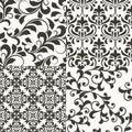 4 Seamless Floral Retro Patterns Royalty Free Stock Photo