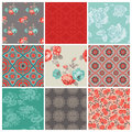 Seamless vintage flower background set design scrapbook Stock Photography