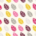 Seamless vintage flower retro pattern, colors. Background of colored leaves.