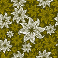 Seamless vintage grunge floral pattern with lilly Stock Photo