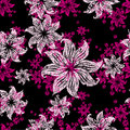 Seamless vintage grunge floral pattern with lilly Stock Photos