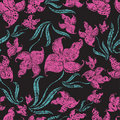 Seamless vintage grunge floral pattern with orchid Stock Photos