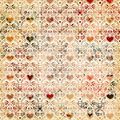 Seamless vintage heart pattern background design Stock Photo
