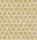 Seamless vintage Japanese style golden polygon flower pattern background.