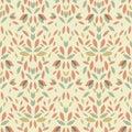 Seamless vintage leaf floral pattern