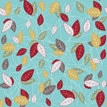 Seamless vintage leavs pattern wallpaper botanical background Stock Image