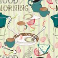Seamless vintage morning breakfast background illustration for design Stock Image