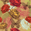 Seamless vintage pattern with blooming roses and c colorful butterflies hand drawing vector illustration Royalty Free Stock Photography