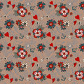 Seamless vintage pattern with flowers for valentine design old school tattoo style Royalty Free Stock Photography