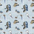 Watercolor seamless pattern with Sherlock Holmes objects