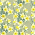 Seamless vintage pattern lush yellow daffodils this is file of eps format Royalty Free Stock Image