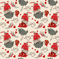 Seamless vintage pattern with ship for valentine design old school tattoo style Royalty Free Stock Photography