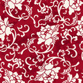 Seamless Vintage Red Chinese Background Spiral Botanic Flower Le