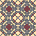 Seamless vintage tile background pattern in golden, gray, vinous colors. Royalty Free Stock Photo