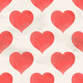 Seamless vintage vector pattern of red watercolor hearts