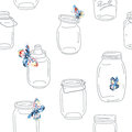 Seamless vintage whimsical pattern with jars and butterflies retro background Royalty Free Stock Photos