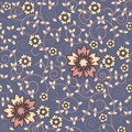 Seamless violet floral pattern with flowers Royalty Free Stock Photos