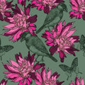 Seamless wallpaper with abstract flowers and birds, hand-drawing Royalty Free Stock Photo