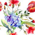 Seamless wallpaper with beautiful summer flowers watercolor illustration Stock Photos