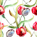 Seamless wallpaper with beautiful tulips flowers watercolor painting Royalty Free Stock Photography