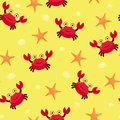 Seamless wallpaper crab and sea star Royalty Free Stock Image