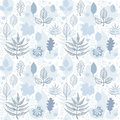 Seamless wallpaper with leaves in blue and white Royalty Free Stock Photo