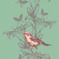 Seamless wallpaper with lilies and birds, hand-drawing. Vector i Royalty Free Stock Photo