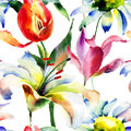 Seamless wallpaper with Lily and Tulips flowers Stock Images